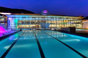 View outdoor pool at night