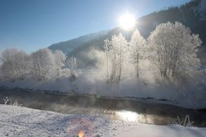 View on Salzach river in winter